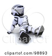 Royalty Free RF Clipart Illustration Of A 3d Silver Robot Sitting Back And Looking Up