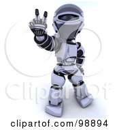 Royalty Free RF Clipart Illustration Of A 3d Silver Robot Gesturing Peace by KJ Pargeter