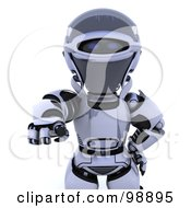 Royalty Free RF Clipart Illustration Of A 3d Silver Robot Pointing Outwards