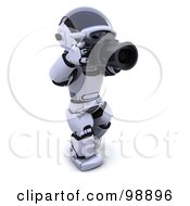 Royalty Free RF Clipart Illustration Of A 3d Silver Robot Taking Pictures by KJ Pargeter