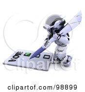 Royalty Free RF Clipart Illustration Of A 3d Silver Robot Voting