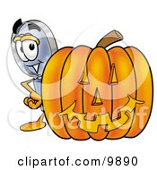 Clipart Picture Of A Magnifying Glass Mascot Cartoon Character With A Carved Halloween Pumpkin