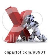 3d Silver Robot Pushing An X Mark