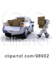 Royalty Free RF Clipart Illustration Of A 3d Silver Robot Loading Boxes In A Truck