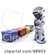 Royalty Free RF Clipart Illustration Of A 3d Silver Robot Standing By Ballot Boxes