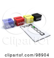 Royalty Free RF Clipart Illustration Of A 3d Voters Ballot By Boxes by KJ Pargeter