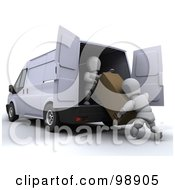 Royalty Free RF Clipart Illustration Of 3d White Characters Unloading A Box From A Van