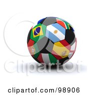 Royalty Free RF Clipart Illustration Of A 3d World Cup Soccer Ball With International Flags