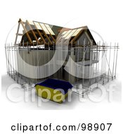 Royalty Free RF Clipart Illustration Of Scaffolding Around A New Home