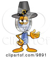 Clipart Picture Of A Magnifying Glass Mascot Cartoon Character Wearing A Pilgrim Hat On Thanksgiving by Toons4Biz