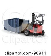 Royalty Free RF Clipart Illustration Of A 3d Forklift Loading Boxes Into A Cargo Container by KJ Pargeter