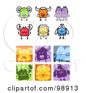 Royalty Free RF Clipart Illustration Of A Digital Collage Of Sketched And Square Aries Taurus Gemini Cancer Leo And Virgo Zodiac Icons
