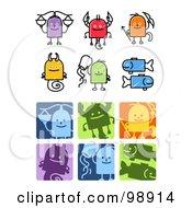 Digital Collage Of Sketched And Square Libra Scorpio Sagittarius Capricorn Aquarius And Pisces Zodiac Icons