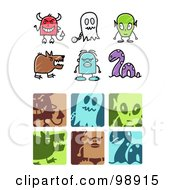 Royalty Free RF Clipart Illustration Of A Digital Collage Of Monster Icons