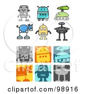 Royalty Free RF Clipart Illustration Of A Digital Collage Of Robot Icons by NL shop