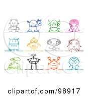 Royalty Free RF Clipart Illustration Of A Digital Collage Of Colorful Sketched Robot And Alien Icons by NL shop