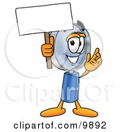 Clipart Picture Of A Magnifying Glass Mascot Cartoon Character Holding A Blank Sign by Toons4Biz