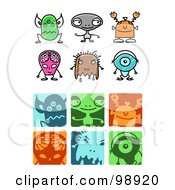 Royalty Free RF Clipart Illustration Of A Digital Collage Of Alien Icon Elements by NL shop