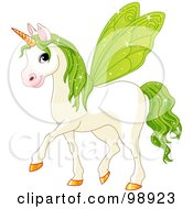 Magical Fairy Unicorn Horse With Green Wings