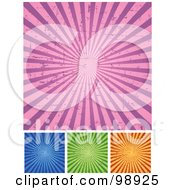 Royalty Free RF Clipart Illustration Of A Digital Collage Of Grungy Retro Pink Blue Green And Orange Ray Backgrounds