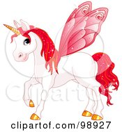Magical Fairy Unicorn Horse With Red Wings
