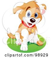 Royalty Free RF Clipart Illustration Of A Happy Puppy Dog Sitting In A Circle Of Grass