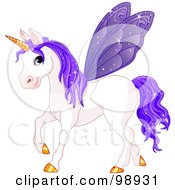 Royalty Free RF Clipart Illustration Of A Magical Fairy Unicorn Horse With Purple Wings by Pushkin