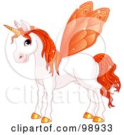 Magical Fairy Unicorn Horse With Orange Wings