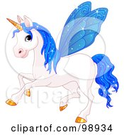 Magical Fairy Unicorn Horse With Blue Wings