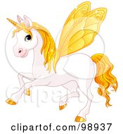 Magical Fairy Unicorn Horse With Yellow Wings
