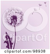 Poster, Art Print Of Purple Dandelion Background With Seeds Floating In The Wind