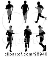 Digital Collage Of Silhouetted Men Running