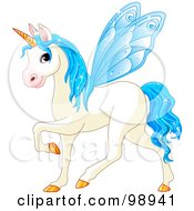 Royalty Free RF Clipart Illustration Of A Magical Fairy Unicorn Horse With Light Blue Wings by Pushkin