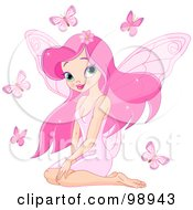 Pretty Pink Pixie Surrounded By Butterflies