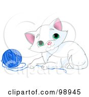 Royalty Free RF Clipart Illustration Of A Playful White Kitten With A Ball Of Blue Yarn