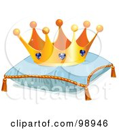 Royalty Free RF Clipart Illustration Of A Jeweled Crown On A Blue Pillow by Pushkin