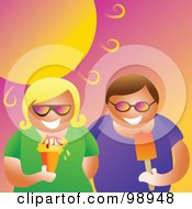 Royalty Free RF Clipart Illustration Of A Couple Eating Ice Cream Under A Hot Summer Sun