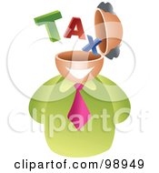 Royalty Free RF Clipart Illustration Of A Businessman With A Tax Brain by Prawny