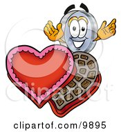 Clipart Picture Of A Magnifying Glass Mascot Cartoon Character With An Open Box Of Valentines Day Chocolate Candies by Toons4Biz