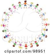 Circle Of Diverse Stick Children