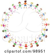 Royalty Free RF Clipart Illustration Of A Circle Of Diverse Stick Children