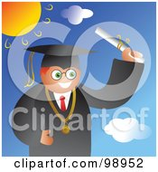 Royalty Free RF Clipart Illustration Of A Male Graduate In A Black Gown Holding His Diploma On A Sunny Day