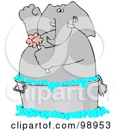 Royalty Free RF Clipart Illustration Of An Elephant Scrubbing With A Sponge In A Wash Tub