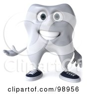 Royalty Free RF Clipart Illustration Of A 3d Dental Tooth Character Gesturing 2 by Julos