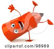 Royalty Free RF Clipart Illustration Of A 3d Red Pencil Character Doing A Hand Stand by Julos