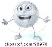 Royalty Free RF Clipart Illustration Of A 3d Golf Ball Character Gesturing With Both Hands