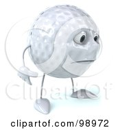 Royalty Free RF Clipart Illustration Of A 3d Golf Ball Character Facing Right And Pouting