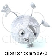 Royalty Free RF Clipart Illustration Of A 3d Golf Ball Character Doing A Hand Stand
