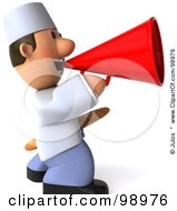 Royalty Free RF Clipart Illustration Of A 3d Young Chef Facing Right Holding Bread And Announcing