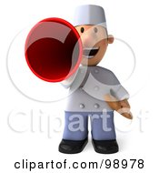 Royalty Free RF Clipart Illustration Of A 3d Young Chef Facing Front Holding Bread And Announcing